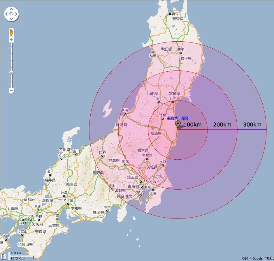 福島原発核爆発(チェルノブイリ原発事故)避難範囲