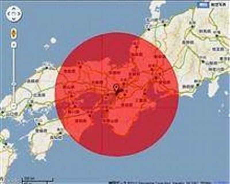 大阪がれき焼却の汚染範囲地図