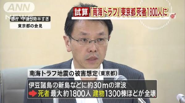 南海トラフ地震の東京都の被害範囲