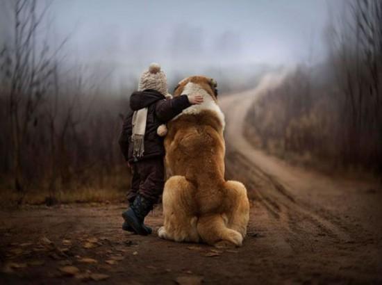自分より大きな犬の肩に手を回す少年